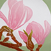 kate steele :: magnolia by moonlight :: hand printed reduction linocut